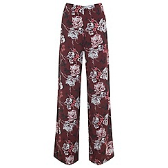 Miss Selfridge - Burgundy floral wide leg