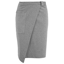 Miss Selfridge - Grey buckle wrap midi skirt