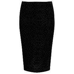 Miss Selfridge - Black devore pencil skirt