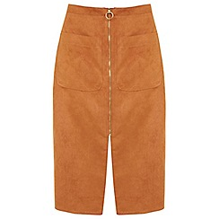 Miss Selfridge - Rust suede zip midi skirt