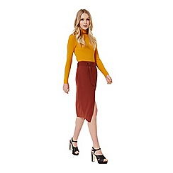 Miss Selfridge - Rust d-ring wrap midi skirt