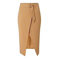 Miss Selfridge - Camel d-ring wrap midi skirt