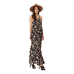 Miss Selfridge - Black floral wrap maxi skirt