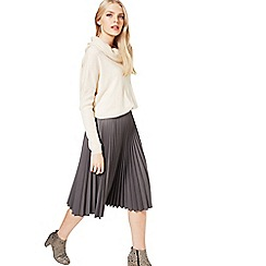 Miss Selfridge - Grey faux leather midi skirt