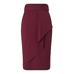 Miss Selfridge - Burgundy ruffle midi skirt