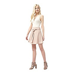 Miss Selfridge - Nude tie waist mini skirt