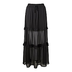 Miss Selfridge - Black tier maxi skirt