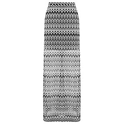 Miss Selfridge - Monochrome zig zag maxi skirt