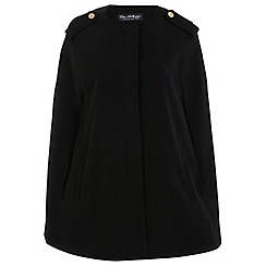 Miss Selfridge - Black collarless cape coat