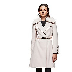 Miss Selfridge - Nude fur trim belted coat