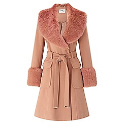 Miss Selfridge - Faux fur cuff and collar coat