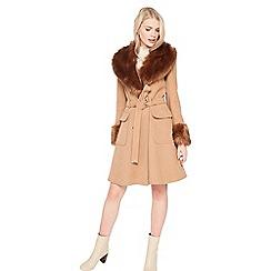 Miss Selfridge - Faux fur cuff and collar coat