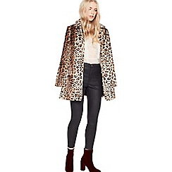 Miss Selfridge - Leopard faux fur dolly coat