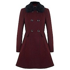 Miss Selfridge - Faux fur collar button coat