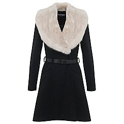 Miss Selfridge - Faux fur collar belted coat