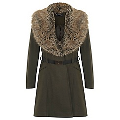 Miss Selfridge - Khk fur collar f and f