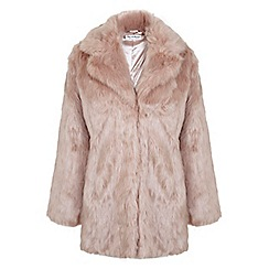 Miss Selfridge - Pink faux fur coat