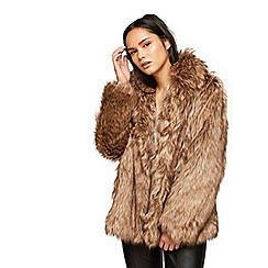 Miss Selfridge - Beige faux fur coat