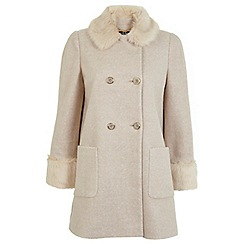 Miss Selfridge - Faux fur collar pea coat
