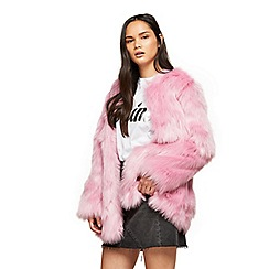 Miss Selfridge - Pink faux fur mid length coat