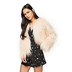 Miss Selfridge - Blush faux mongolian fur coat