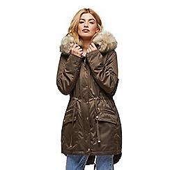 Miss Selfridge - Khaki fur trim luxe parka