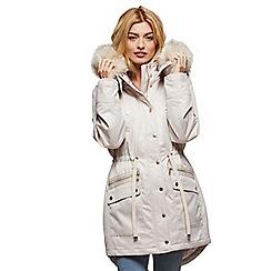 Miss Selfridge - Fur trim luxe parka oyster