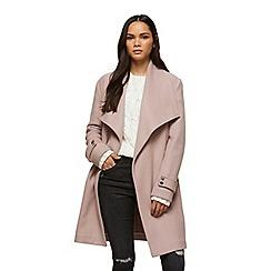 Miss Selfridge - D ring belted blush wrap coat