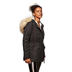 Miss Selfridge - Fur trim parka coat navy