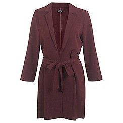 Miss Selfridge - Burgundy belted duster coat