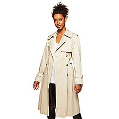 Miss Selfridge - Belted trench coat stone