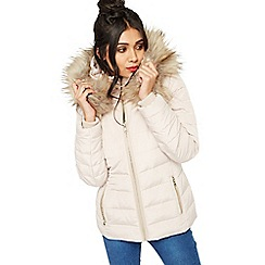 Miss Selfridge - Nude quilted puffer coat