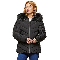 Miss Selfridge - Black fur hooded puffer coat