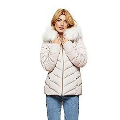 Miss Selfridge - Cream fur hooded puffer coat