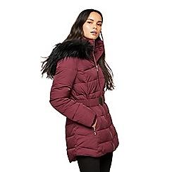 Miss Selfridge - Longline belted puffer burgundy coat