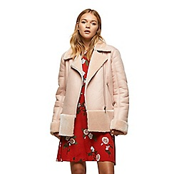Miss Selfridge - Pink faux fur shearling biker