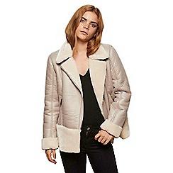 Miss Selfridge - Grey faux fur shearling biker jacket