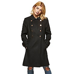 Miss Selfridge - Black double button wool coat