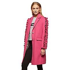 Miss Selfridge - Ruffle sleeves pink coat
