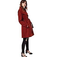 Miss Selfridge - Rust wrap fit and flare coat