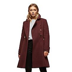 Miss Selfridge - Burgundy double button wool coat