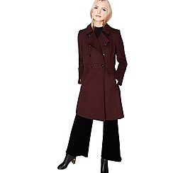 Miss Selfridge - Burgundy double breasted coat