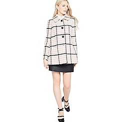 Miss Selfridge - Pink check button through coat