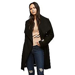 Miss Selfridge - D ring belted black wrap coat
