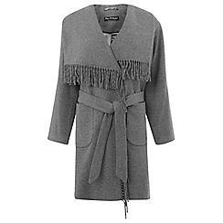 Miss Selfridge - Fringe blanket wrap coat