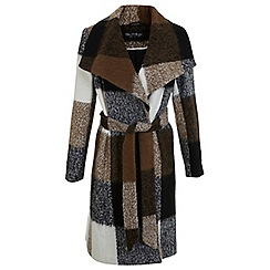 Miss Selfridge - Check wool wrap coat