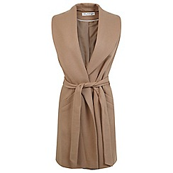 Miss Selfridge - Camel belted sleeveless coat