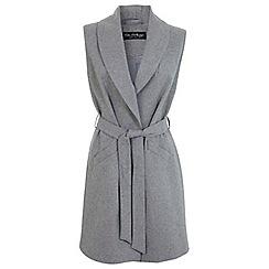 Miss Selfridge - Grey belted sleeveless coat