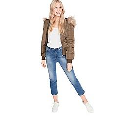 Miss Selfridge - Khaki puffa bomber coat