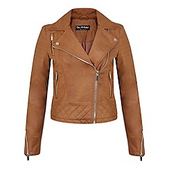 Miss Selfridge - Tan molly faux leather biker